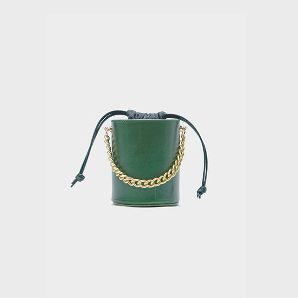Small Womens Green Leather Crossbody Bucket Bag Handbags Purse for Women fashion