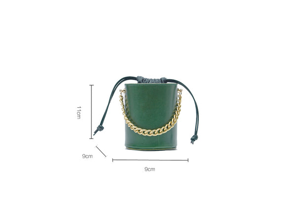 Small Womens Green Leather Crossbody Bucket Bag Handbags Purse for Women gift