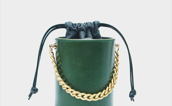 Small Womens Green Leather Crossbody Bucket Bag Handbags Purse for Women stylish
