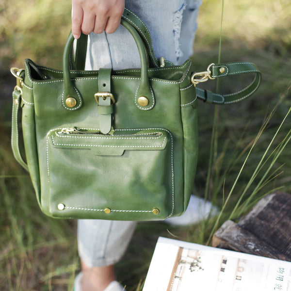 Small Womens Green Leather Crossbody Tote Bag Shoulder Handbags Purse for Women Affordable