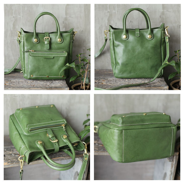 Small Womens Green Leather Crossbody Tote Bag Shoulder Handbags Purse for Women Beautiful