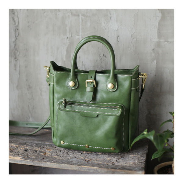 Small Womens Green Leather Crossbody Tote Bag Shoulder Handbags Purse for Women Best