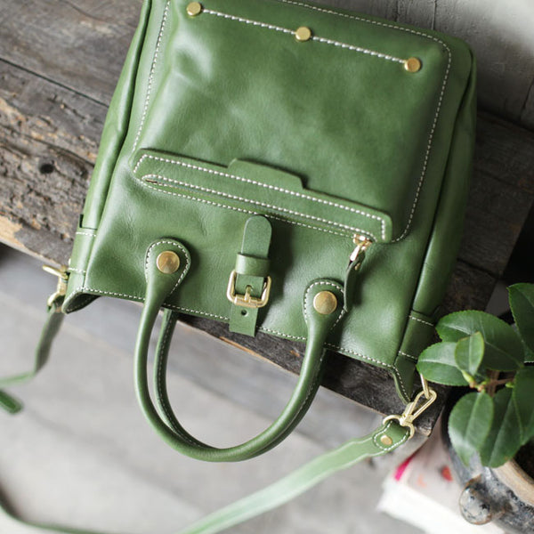 Small Womens Green Leather Crossbody Tote Bag Shoulder Handbags Purse for Women Chic