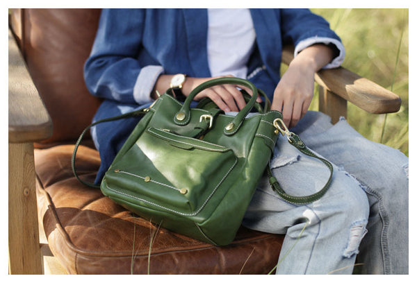 Small Womens Green Leather Crossbody Tote Bag Shoulder Handbags Purse for Women Cool