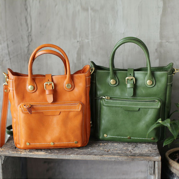 Small Womens Green Leather Crossbody Tote Bag Shoulder Handbags Purse for Women Cute