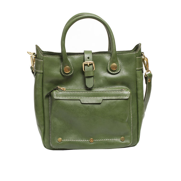 Small Womens Green Leather Crossbody Tote Bag Shoulder Handbags Purse for Women Designer