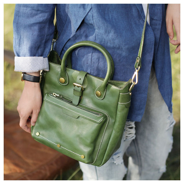 Small Womens Green Leather Crossbody Tote Bag Shoulder Handbags Purse for Women Fashion