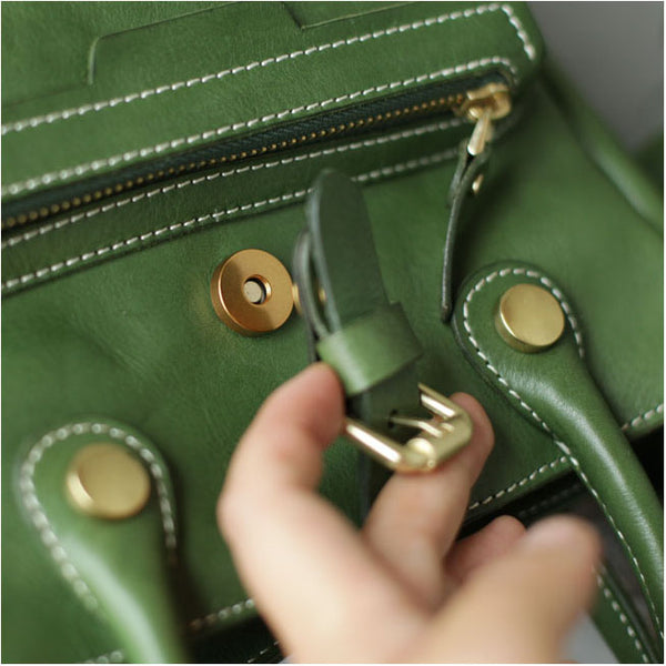 Small Womens Green Leather Crossbody Tote Bag Shoulder Handbags Purse for Women Funky