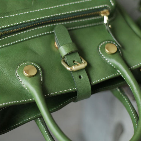 Small Womens Green Leather Crossbody Tote Bag Shoulder Handbags Purse for Women Genuine Leather