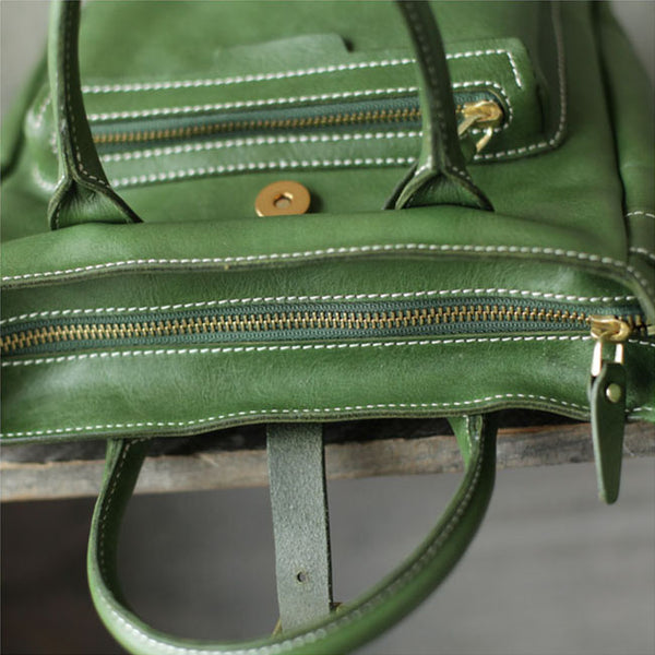 Small Womens Green Leather Crossbody Tote Bag Shoulder Handbags Purse for Women Handmade