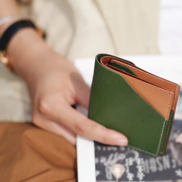 Small Womens Green Leather Wallet Purse Handmade Clutch for Women