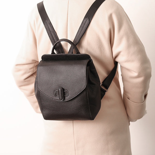 Small Womens Leather Backpack Purse Cute Backpacks for Women black