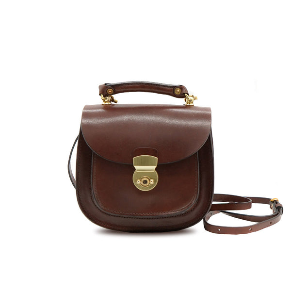 Vintage Womens Small Tan Leather Crossbody Handbags Bags Purse for Women