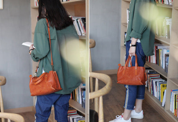 Small Womens Tote Bag Brown Leather Handbags Crossbody Bags for Women Vintage