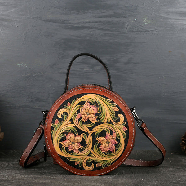 Small Womens Ttooled Leather Circle Bag Round Leather Crossbody Bag For Women Affordable