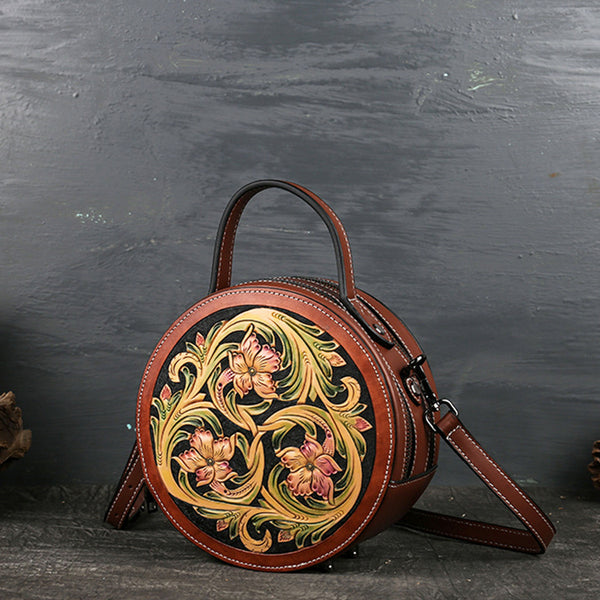 Small Womens Ttooled Leather Circle Bag Round Leather Crossbody Bag For Women Beautiful