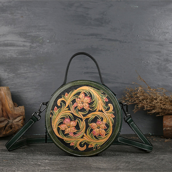 Small Womens Ttooled Leather Circle Bag Round Leather Crossbody Bag For Women Best