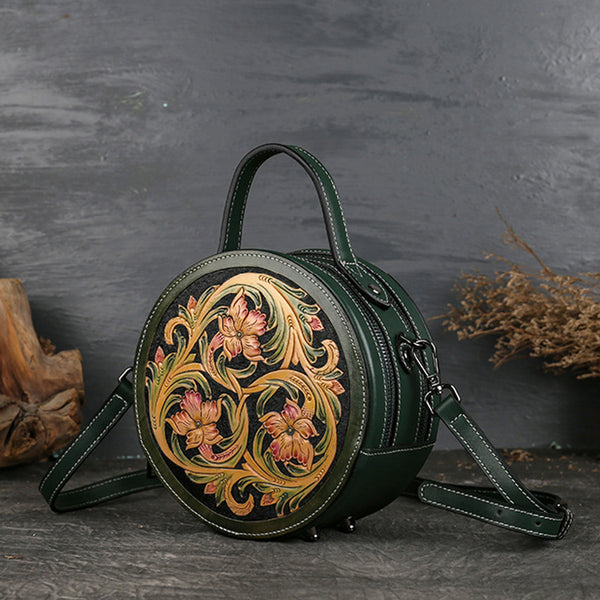 Small Womens Ttooled Leather Circle Bag Round Leather Crossbody Bag For Women Chic