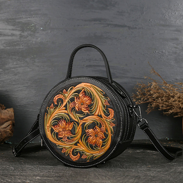 Small Womens Ttooled Leather Circle Bag Round Leather Crossbody Bag For Women Cool
