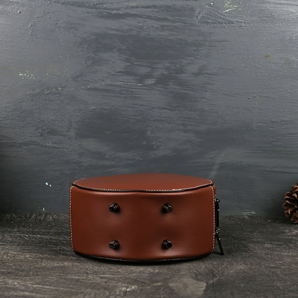 Small Womens Ttooled Leather Circle Bag Round Leather Crossbody Bag For Women Genuine Leather