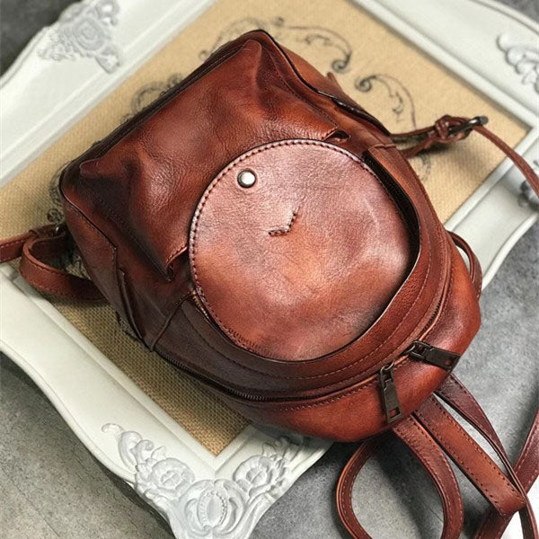 Small Womens Vintage Leather Backpack Purse Brown Rucksack Side