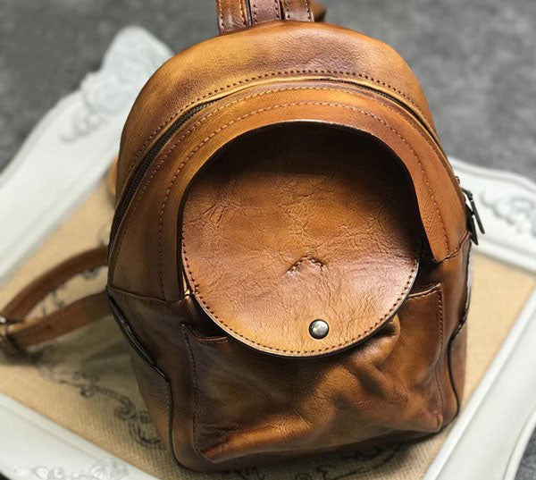 Small Womens Vintage Leather Backpack Purse Brown Rucksack Trendy