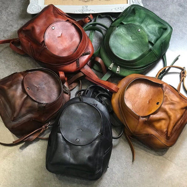 Small Womens Vintage Leather Backpack Purse Brown Rucksack Accessories