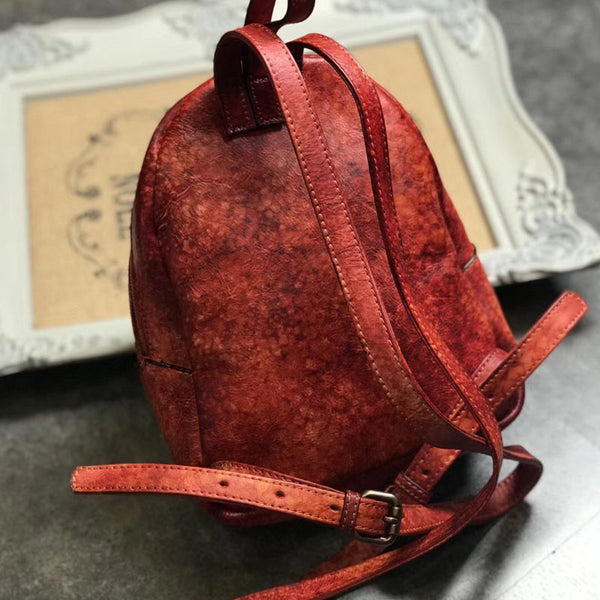 Small Womens Vintage Leather Backpack Purse Brown Rucksack Cool
