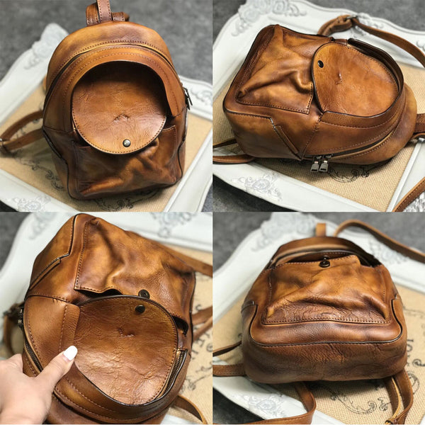 Small Womens Vintage Leather Backpack Purse Brown Rucksack Cute