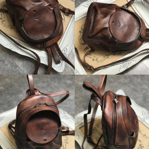 Small Womens Vintage Leather Backpack Purse Brown Rucksack Funky