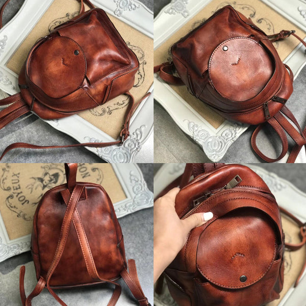 Small Womens Vintage Leather Backpack Purse Brown Rucksack Handmade