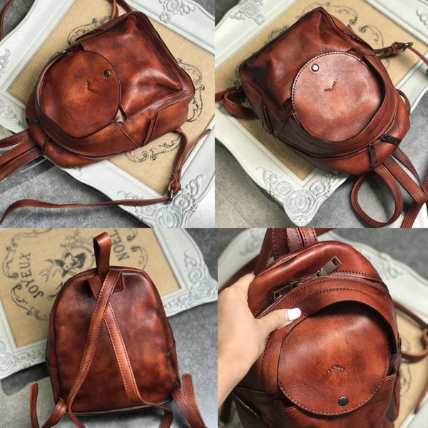 Small Womens Vintage Leather Backpack Purse Brown Rucksack Latest