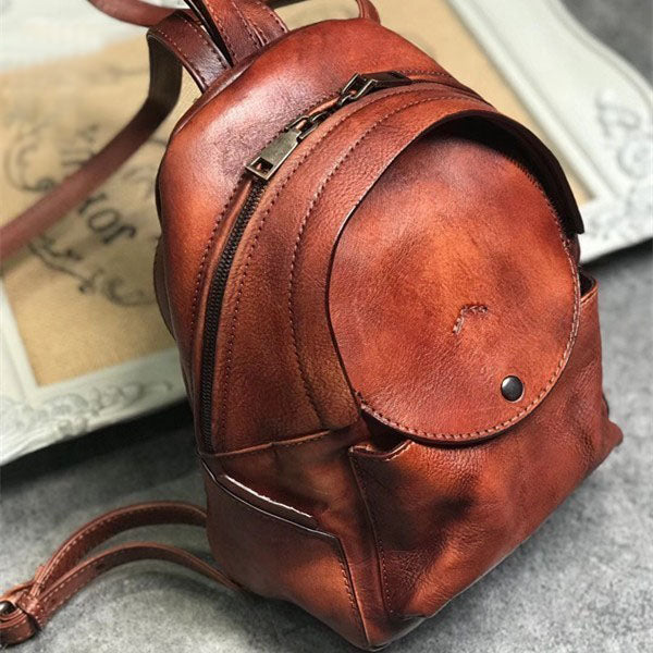 Small Womens Vintage Leather Backpack Purse Brown Rucksack Quality