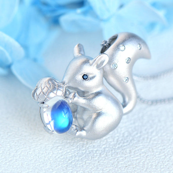 Squirrel Shaped Ladies Sterling Silver Moonstone Pendant Necklace June Birthstone Jewelry For Womens Accessories
