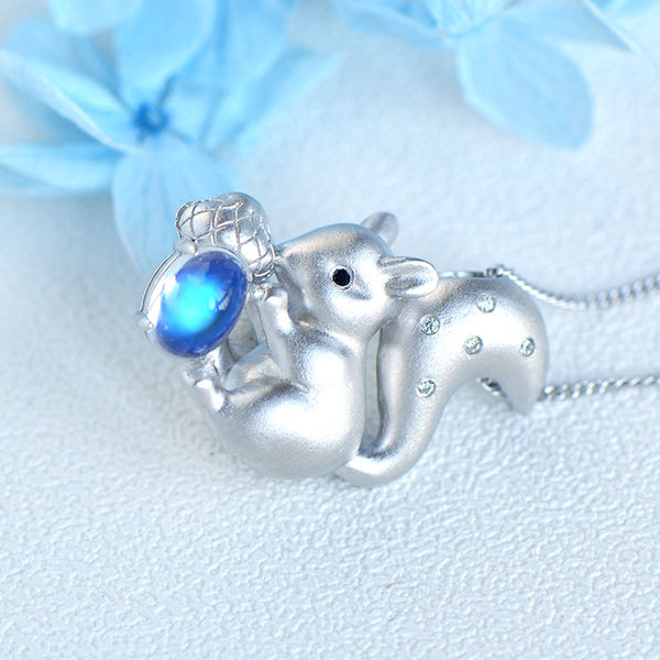Ladies Squirrel Shaped White Gold Plated Sterling Silver Moonstone Pendant Necklace For Womens