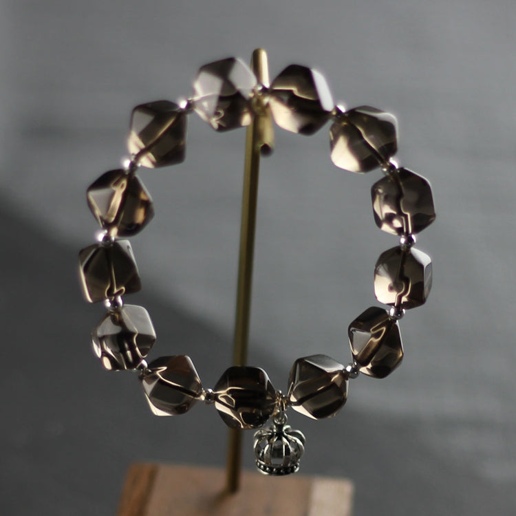 Sterling Silver Crown and Grey Crystal Beaded Bracelets for Women Accessories