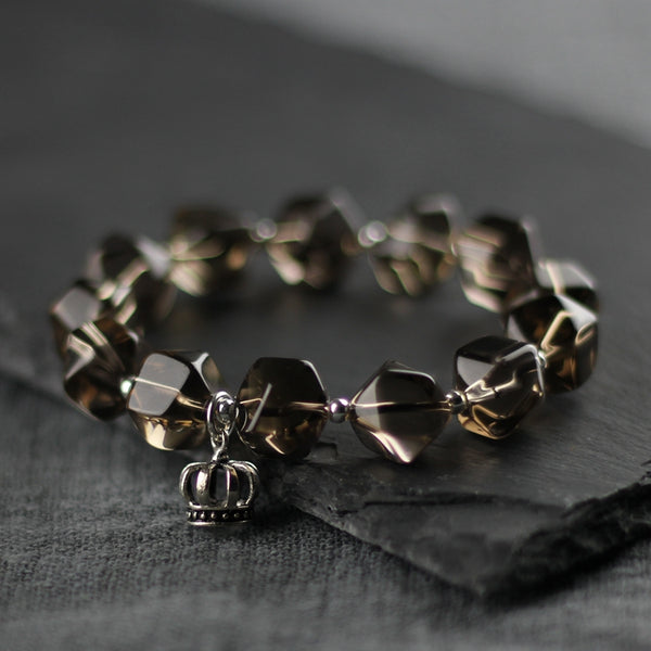 Sterling Silver Crown and Grey Crystal Beaded Bracelets for Women Affordable