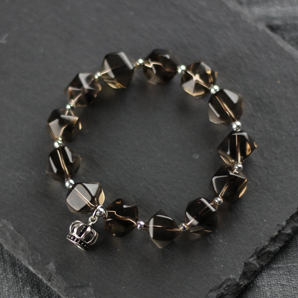Sterling Silver Crown and Grey Crystal Beaded Bracelets for Women Beautiful