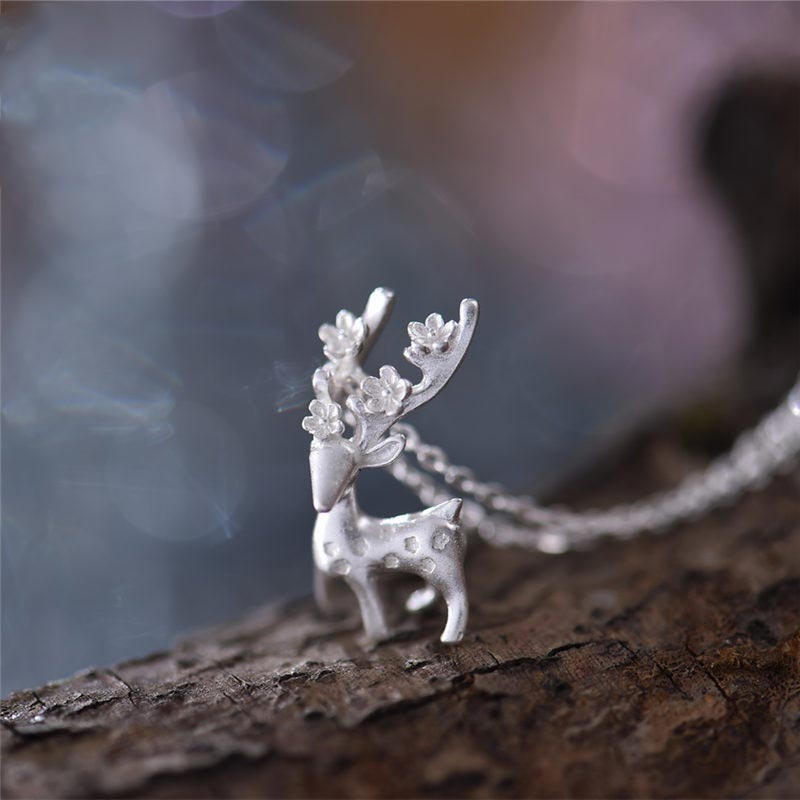 Sterling Silver Cute Deer Pendant Necklace Handmade Jewelry Accessories Women adorable
