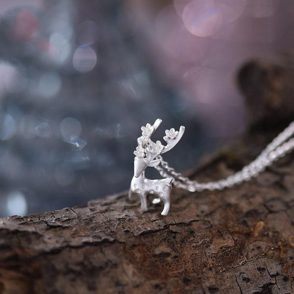 Sterling Silver Cute Deer Pendant Necklace Handmade Jewelry Accessories Women chic
