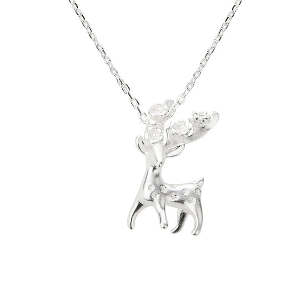 Sterling Silver Cute Deer Pendant Necklace Handmade Jewelry Accessories Women cute
