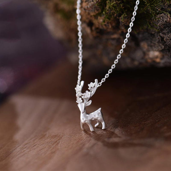 Sterling Silver Cute Deer Pendant Necklace Handmade Jewelry Accessories Women