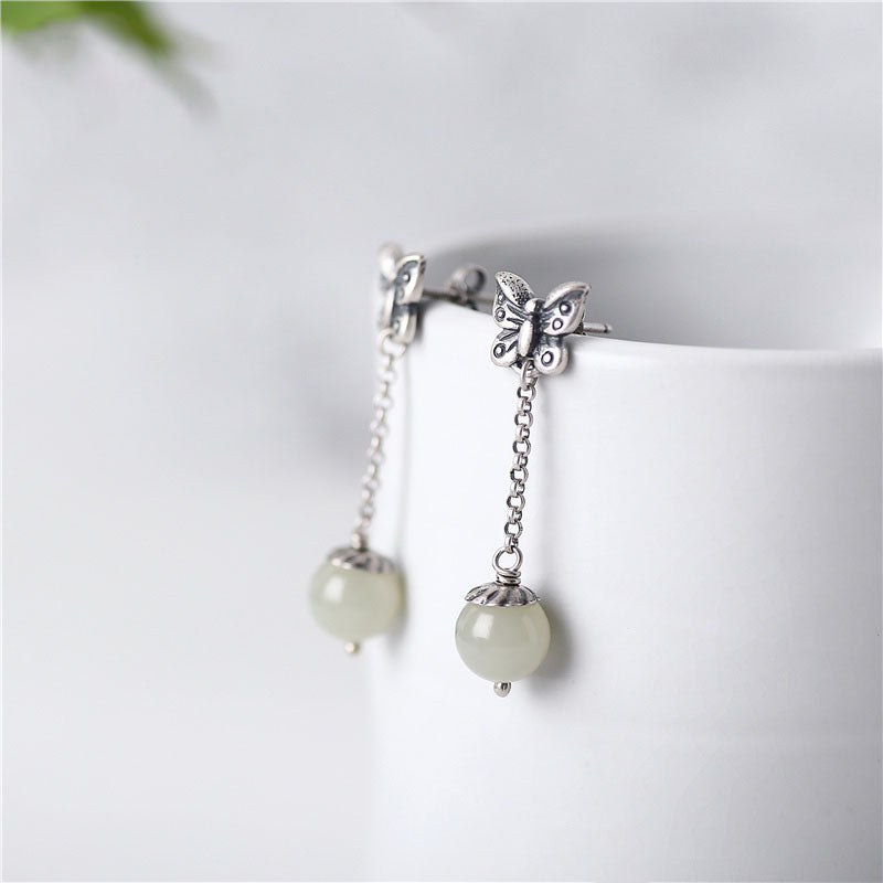 Sterling Silver Dangle Earrings Hetian Jade Handmade Jewelry Accessories Gift Women