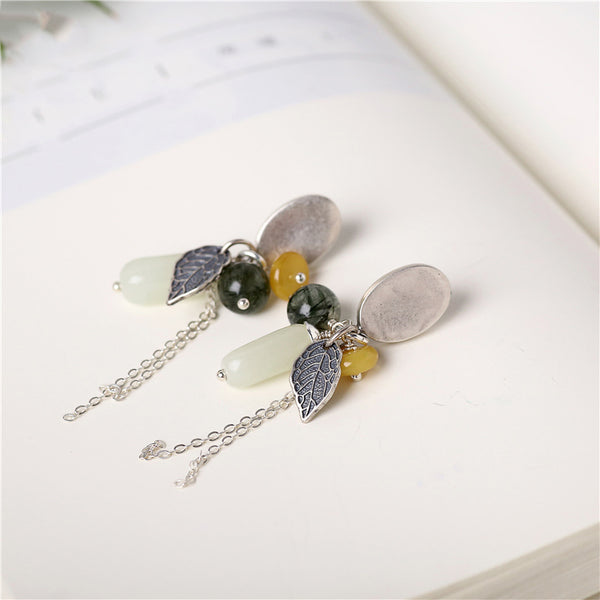 Sterling Silver Dangle Earrings Wax jade Rutilated Quartz Handmade Jewelry Women chic
