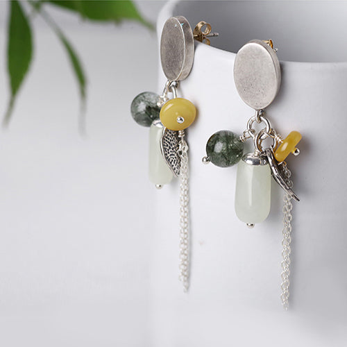 Sterling Silver Dangle Earrings Wax jade Rutilated Quartz Handmade Jewelry Women fashionable
