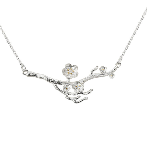 Sterling Silver Flower Pendant Necklace Handmade Jewelry Accessories Women chic