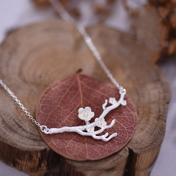 Sterling Silver Flower Pendant Necklace Handmade Jewelry Accessories Women cute