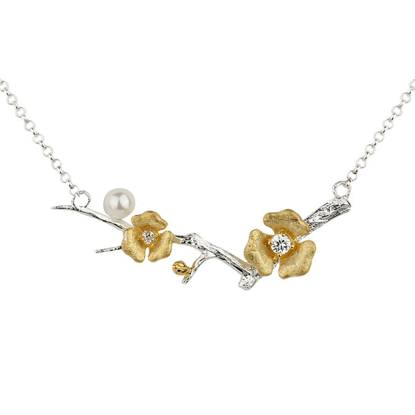 Sterling Silver Flower Pendant Necklace Handmade Jewelry Accessories for Women