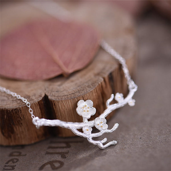 Sterling Silver Flower Pendant Necklace Handmade Jewelry Accessories Women