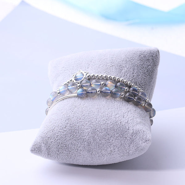 Sterling Silver Grey Moonstone Bead Rosantica Bracelets Handmade Jewelry Accessories Gift Women beautiful